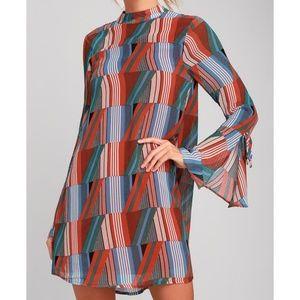 Rust Orange Print Flounce Sleeve Swing Dress
